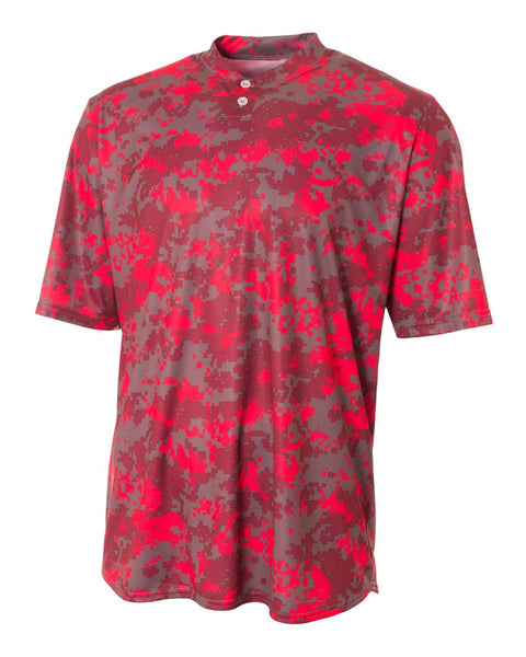 A4 N3263 Camo 2-Button Henley - Scarlet Camo - HIT A Double