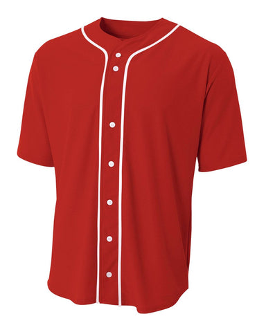 A4 N4184 Short Sleeve Full Button Baseball Top - Scarlet White