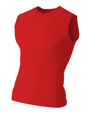 A4 N2306 Compression Muscle Tee - Scarlet