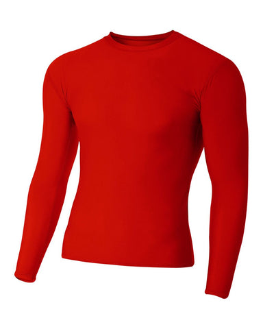 A4 N3133 Long Sleeve Compression Crew - Scarlet
