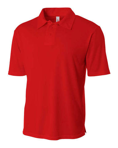 A4 N3261 Solid Interlock Performance Polo - Scarlet