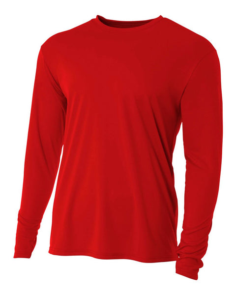 A4 N3165 Cooling Performance Long Sleeve Crew - Scarlet