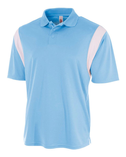 A4 N3266 Color Blocked Performance Polo with Knit Collar - Light Blue White