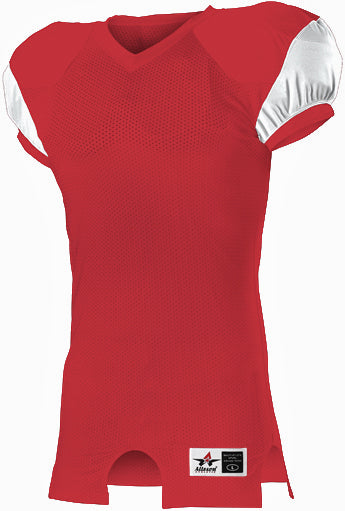Alleson 792ZTN Adult Stretch Football Jersey - Scarlet White
