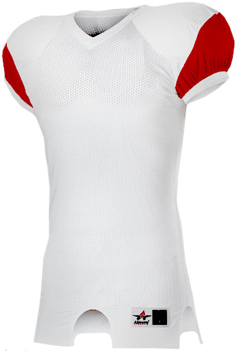 fab55db43 Alleson 792ZTN Adult Stretch Football Jersey - White Scarlet – HIT A ...