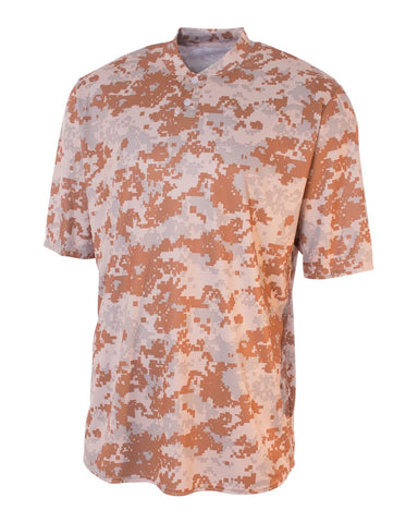 A4 N3263 Camo 2-Button Henley - Sand Camo - HIT A Double