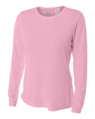 A4 NW3002 Women's Long Sleeve Performance Crew - Pink