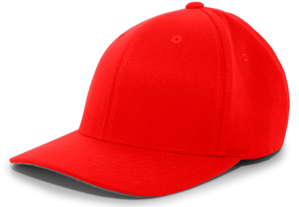 Pacific Headwear 801F Pro-Wool Flexfit Cap - Red - HIT A Double