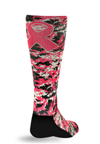 Pro Feet 803-806 Pink Ribbon Crew Socks -- Pink Digi Camo Ribbon