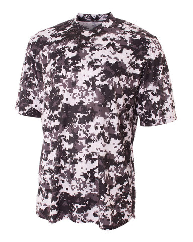 A4 NB3263 Youth 2-Button Henley - White Camo