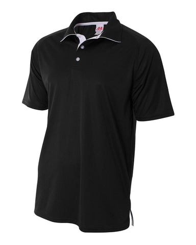 A4 N3293 Contrast Performance Polo - Black White