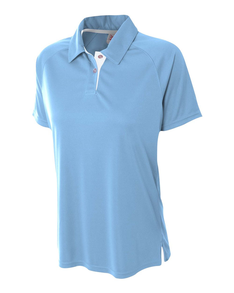 A4 NW3293 Womens Contrast Performance Polo - Light Blue White - HIT A Double
