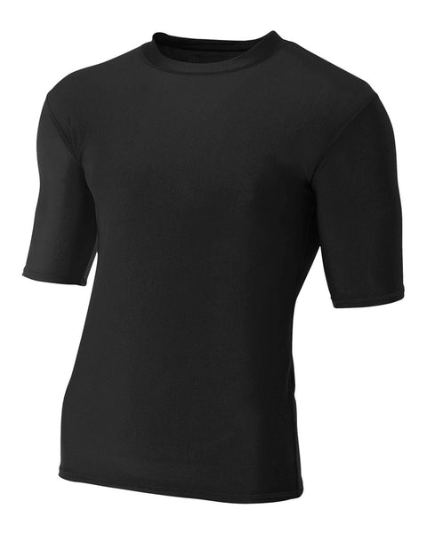 A4 N3283 1/2 Sleeve Compression Crew - Black