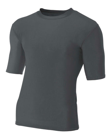 A4 N3283 1/2 Sleeve Compression Crew - Graphite