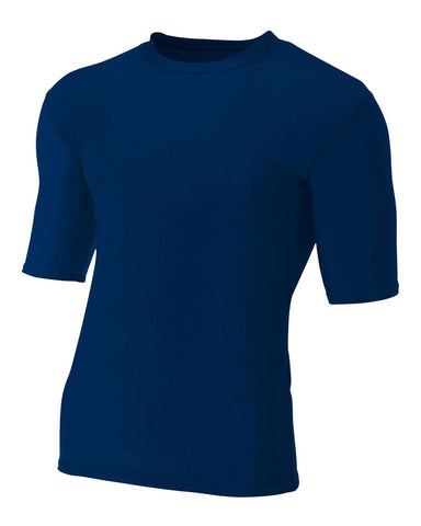 A4 N3283 1/2 Sleeve Compression Crew - Navy