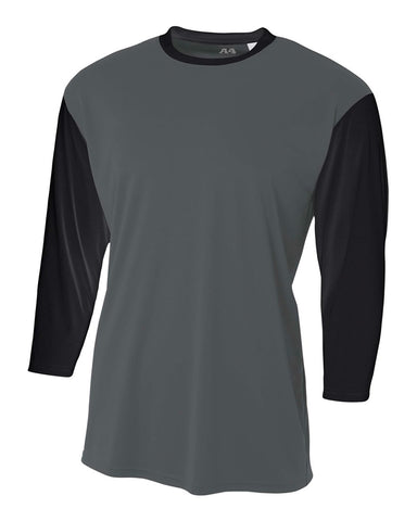 A4 N3294 3/4 Sleeve Utility Shirt - Graphite Black