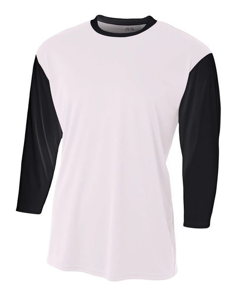 A4 N3294 3/4 Sleeve Utility Shirt - White Black