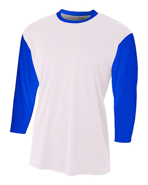 A4 N3294 3/4 Sleeve Utility Shirt - White Royal