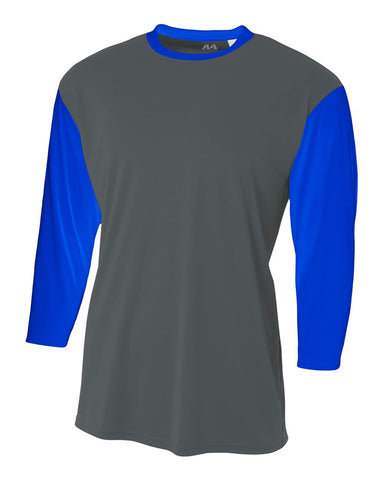 A4 NB3294 Youth 3/4 Sleeve Utility Shirt - Graphite Royal