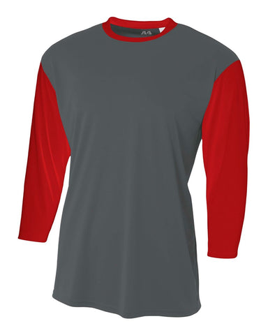 A4 NB3294 Youth 3/4 Sleeve Utility Shirt - Graphite Scarlet
