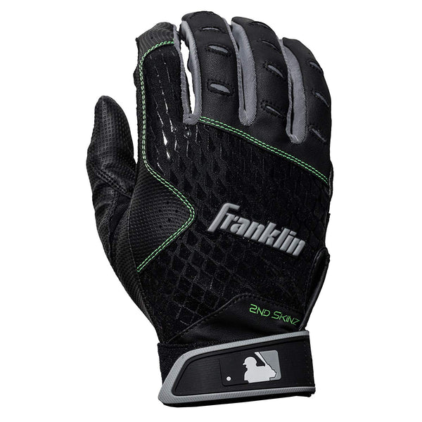 Franklin 2nd-Skinz Adult Batting Gloves - Black - Batting Gloves - Hit A Double