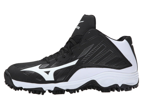 Mizuno 9-Spike Advanced Erupt 3 Mid - Black White - Baseball Footwear - Hit A Double - 1