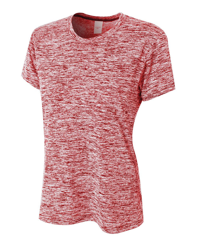 A4 NW3296 Women's Space Dye Tech Shirt - Scarlet - HIT A Double