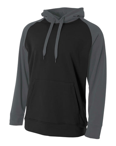 A4 N4234 Color Block Tech Fleece Hoodie - Black Graphite