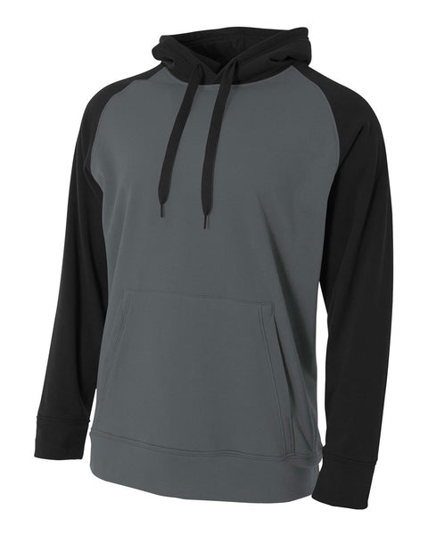 A4 N4234 Color Block Tech Fleece Hoodie - Graphite Black