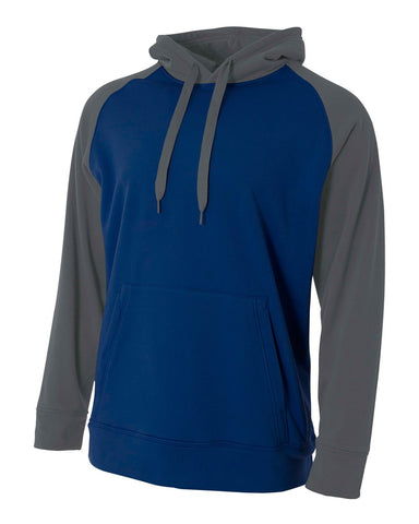 A4 N4234 Color Block Tech Fleece Hoodie - Navy Graphite