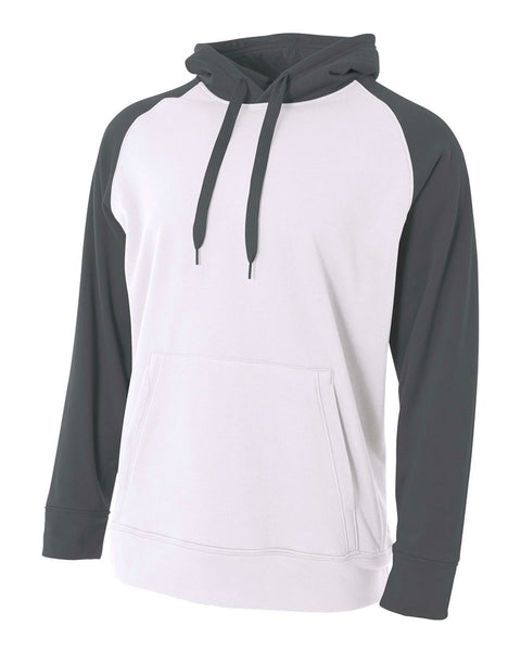 A4 N4234 Color Block Tech Fleece Hoodie - White Graphite