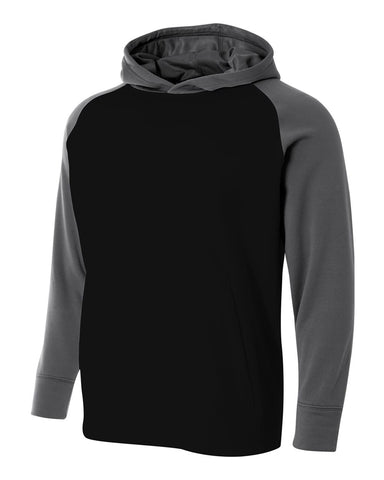 A4 NB4234 Youth Color Block Tech Fleece Hoodie - Black Graphite