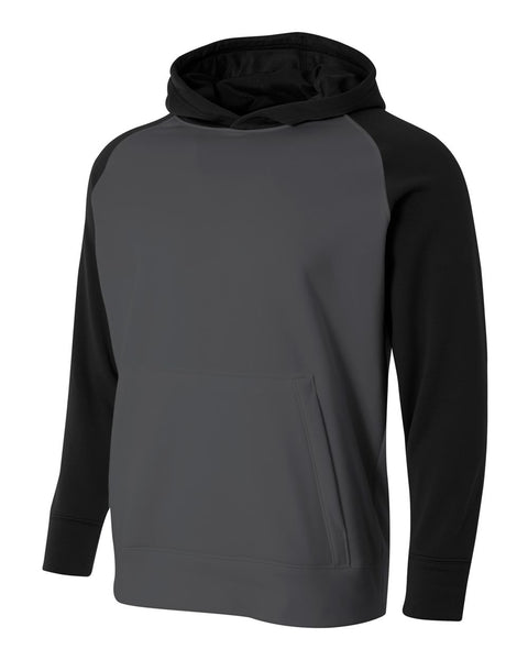 A4 NB4234 Youth Color Block Tech Fleece Hoodie - Graphite Black