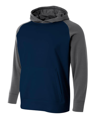 A4 NB4234 Youth Color Block Tech Fleece Hoodie - Navy Graphite