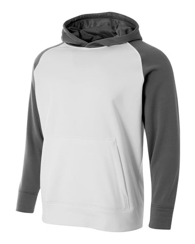 A4 NB4234 Youth Color Block Tech Fleece Hoodie - White Graphite