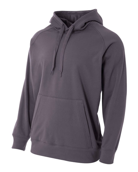 A4 N4237 Solid Tech Fleece Hoodie - Graphite