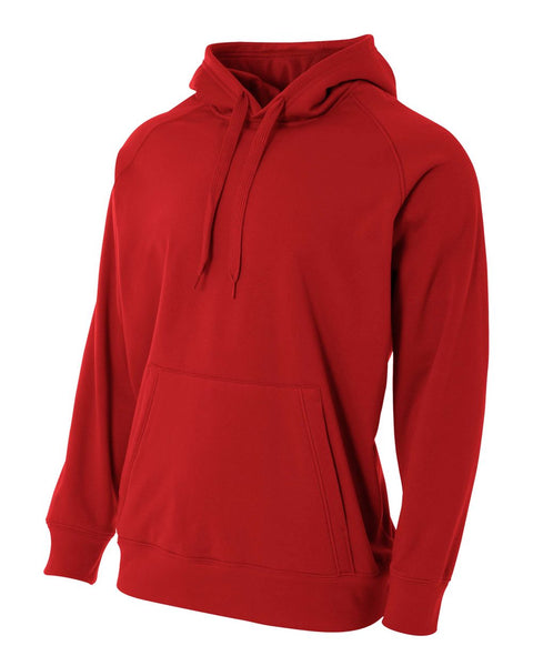 A4 N4237 Solid Tech Fleece Hoodie - Scarlet