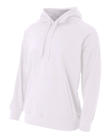A4 N4237 Solid Tech Fleece Hoodie - White