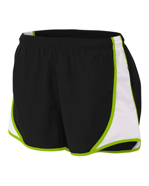 "A4 NW5341 Womens 3"" Speed Short - Black Lime"
