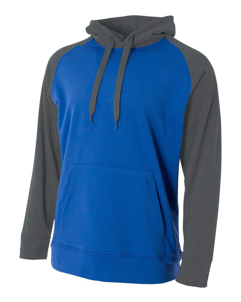 A4 N4234 Color Block Tech Fleece Hoodie - Royal Graphite