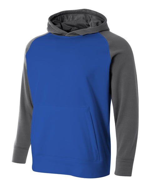 A4 NB4234 Youth Color Block Tech Fleece Hoodie - Royal Graphite