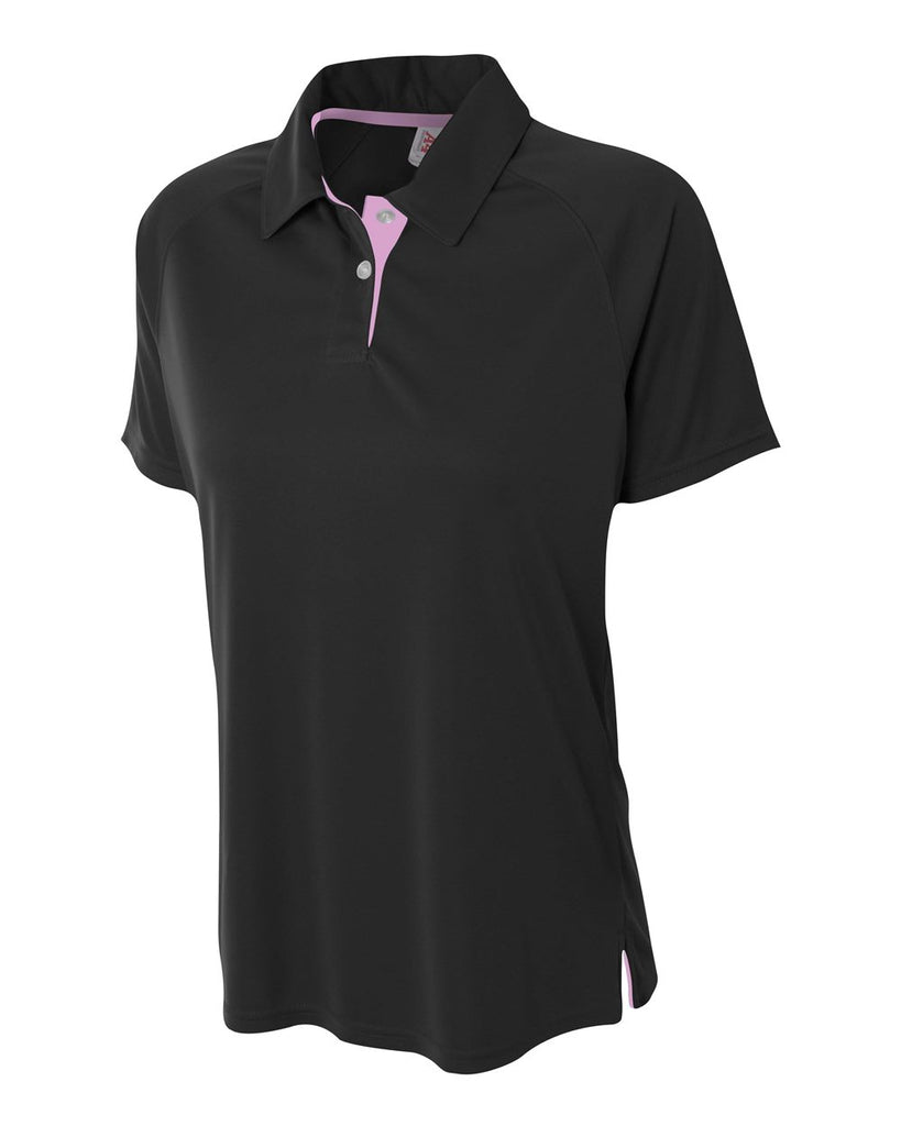 A4 NW3293 Womens Contrast Performance Polo - Black Pink - HIT A Double