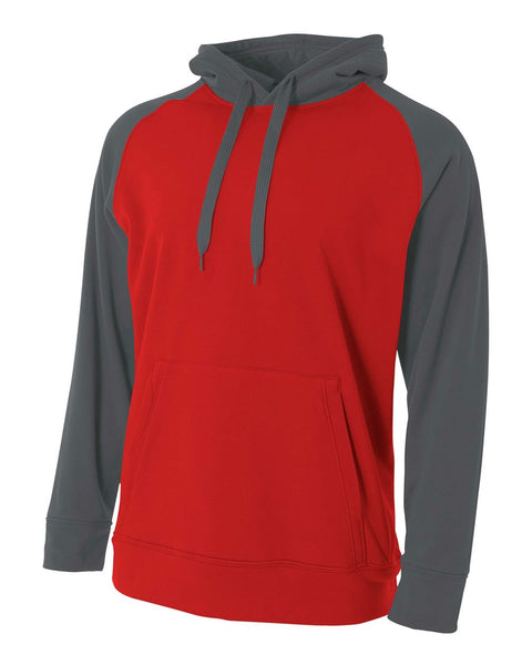 A4 N4234 Color Block Tech Fleece Hoodie - Scarlet Graphite