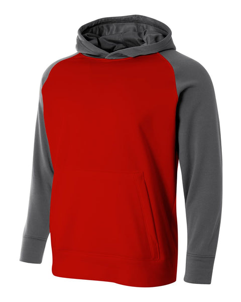 A4 NB4234 Youth Color Block Tech Fleece Hoodie - Scarlet Graphite