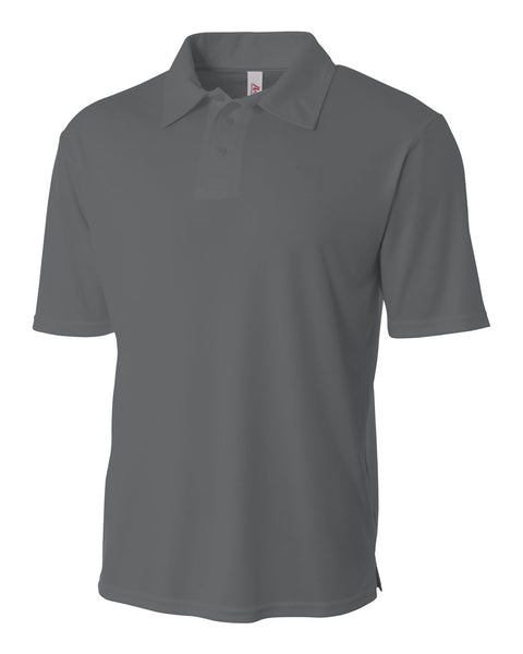 A4 NB3261 Youth Solid Interlock Polo - Graphite