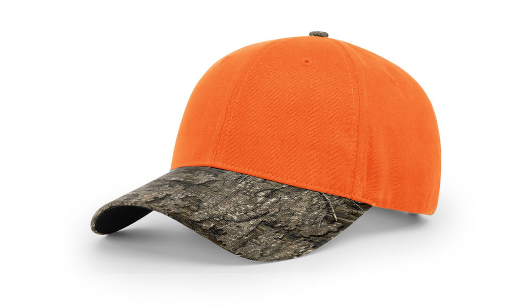 Richardson 883 Blaze Crown W/ Camo Visor Cap - Blaze Orange Realtree Timber