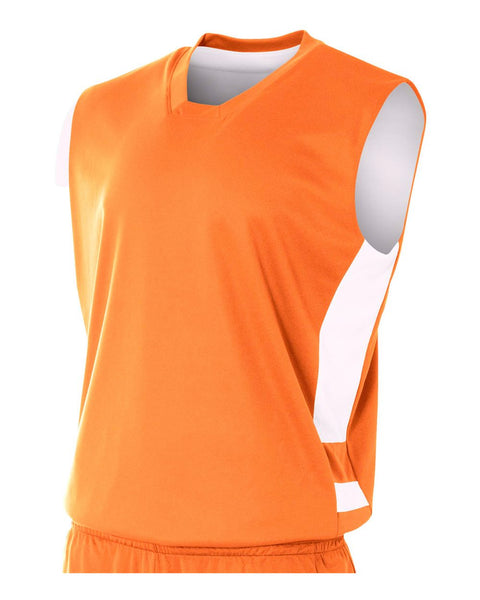 A4 NB2349 Youth Reversible Speedway Muscle Tee - Orange White