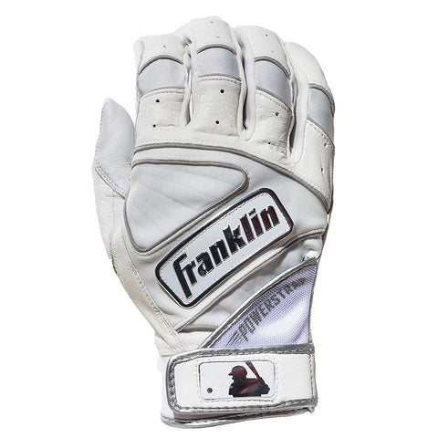 Franklin Chrome Powerstrap Adult Batting Gloves - White