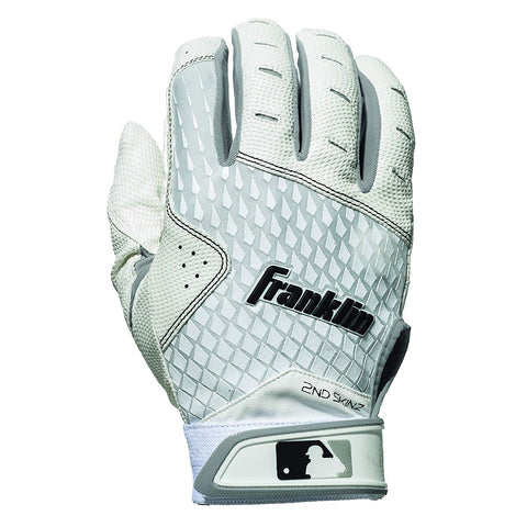 Franklin 2nd-Skinz Youth Batting Gloves - White - Batting Gloves - Hit A Double