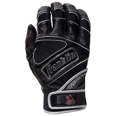 Franklin Chrome Powerstrap Adult Batting Gloves - Black